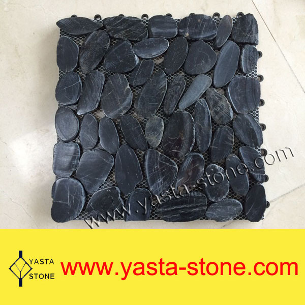 Sale With Plastic Back Board Sliced Black River Stone