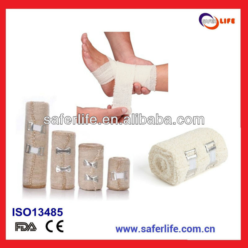 2015 Sports elastic wrapping wound care Elastic Crepe Bandage Product Medical Roller Bandage Elastic Rolled Bandages Cotton Crep