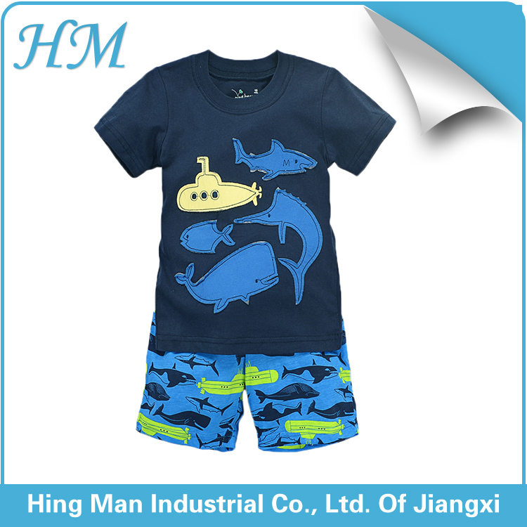 Pretty kids clothes sets short sleeve shorts fancy boys pure cotton baby suits.