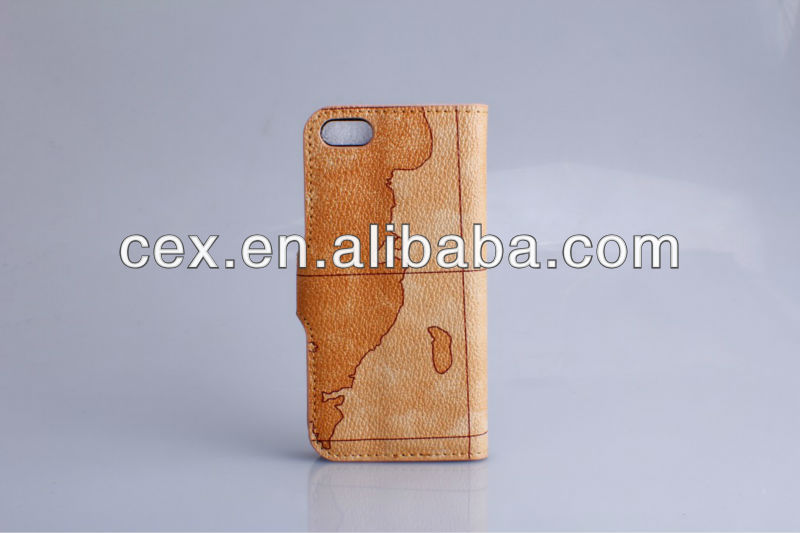 For Apple iPhone 5 Great Protection Flip PU Leather Map Case