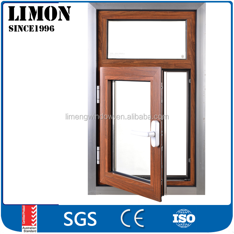 cheap aluminum clad wood framed casement window with double glazed glass