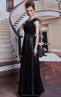 Fashinable Black Cap Sleeve Girl Prom Dress Lady Cheap Evening Dress Women Party Dress