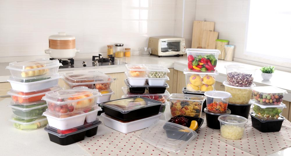New thin plastic round food storage containers food disposable packing fresh box 0.5L 1L 1.2L