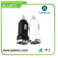 best seller black & white dual usb car charger portable charger for cellphone and tablet with CE RoHs