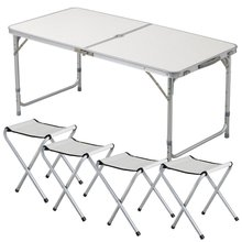 Tianye 4ft Aluminum Adjustable Folding dining Outdoor Camping picnic Table Set w/ 4 Chairs