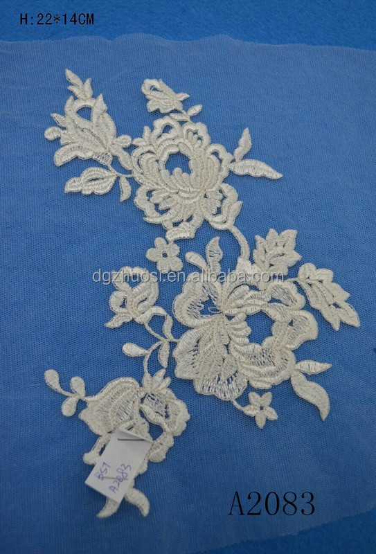 Beautiful Victorian Flower Venice Lace Applique Pair in stock