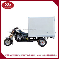 china 3 wheel white closed carriage box air-cooled 200cc powerful motor/ tricycle
