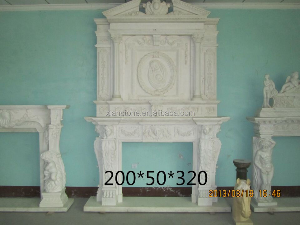 High polished indoor decoration marble double fireplace mantel