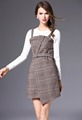 Newest style woman's long sleeve knitwear and wool grid braces skirt two pieces sets