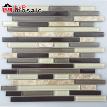 2018 USA Style Hot Sale Strip glass mix ceramic mosaic tile for interior wall decoration
