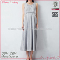 Western Style OEM Custom design for pregnant woman direct manufacturer gray knitted dress for fat
