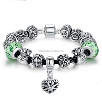 Latest Top Sale glass beads 925 sterling silver bracelet