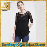 Hot woman clothing plain round neck long sleeve girls lace for women t-shirt