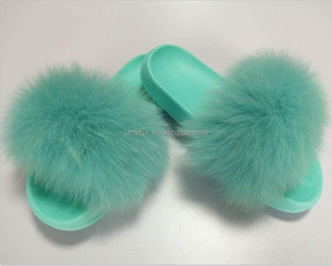 Fashion Design Women Casual Platform Flat Sandals Real Fox Fur Slipper