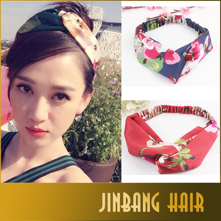 hair accessories , Fashion Twisted Floral Turban Headband Yoga Style Knotted Women Hair Accessories