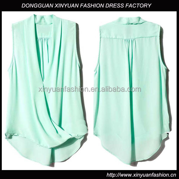 New Fashion Womens Asymmetrical Dressy Pattern Chiffon Sleeveless Blouse