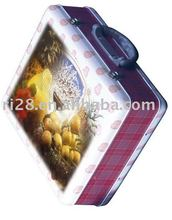 Tin wine case with carrying handle