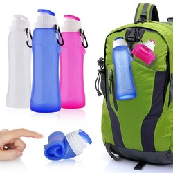Portable flexible silicone travel water bottle energy drink plastic sport bottle
