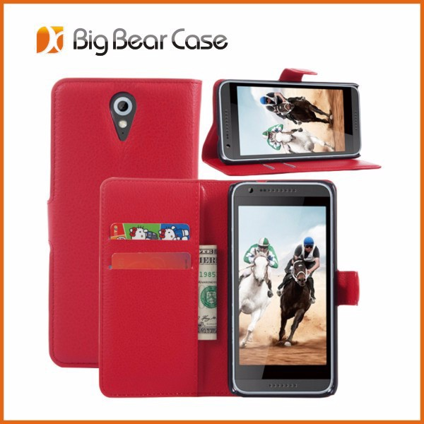 Factory wallet leather case for htc desire D820MU