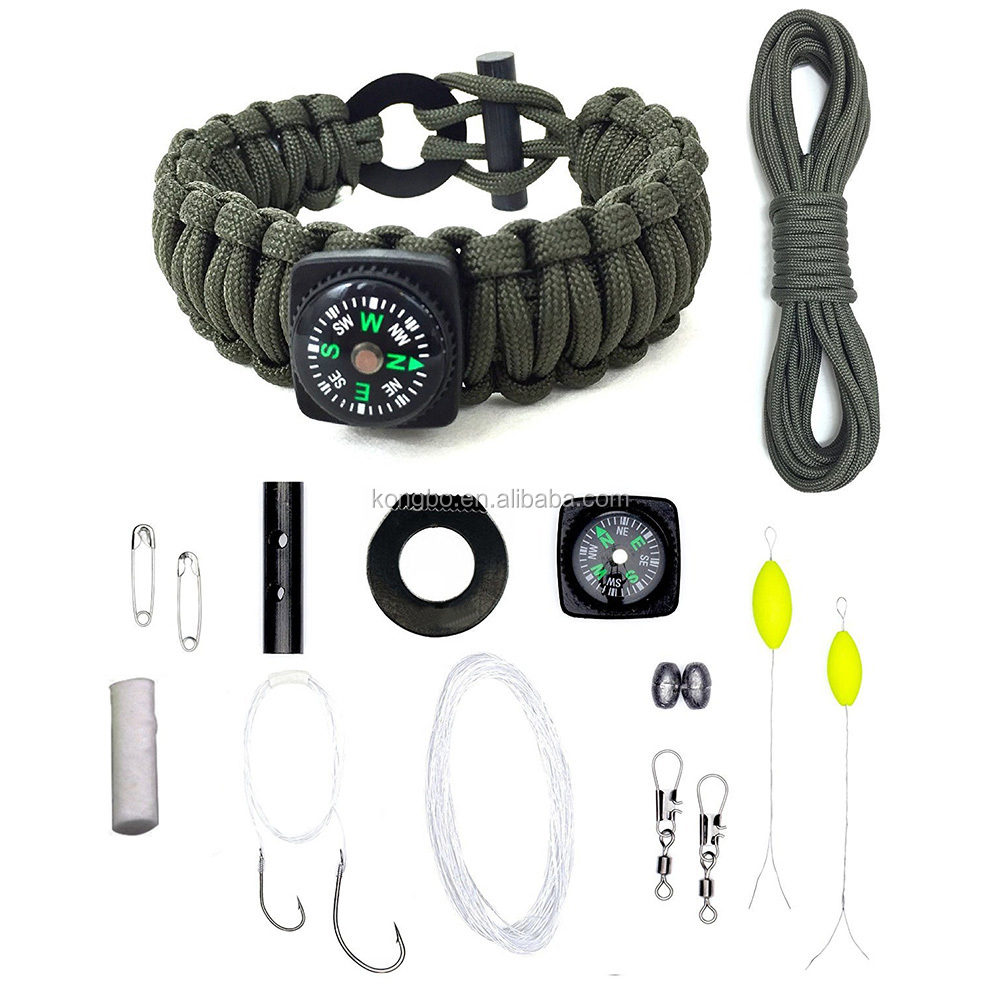 KongBo 2016 outdoor equipment adjustable bracelet manufacturer paracord survival kit
