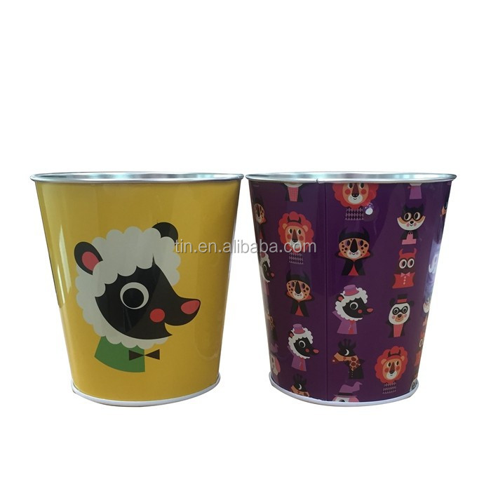 Custom printed small round metal ice tin bucket with handle