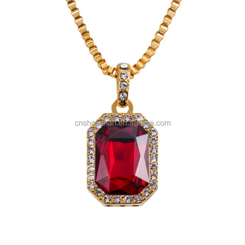 Small Size Bling Bling Iced Out Red Ruby CZ Pendant Chain 14k Gold Square Red, Black, Blue RUBY Pendant 24