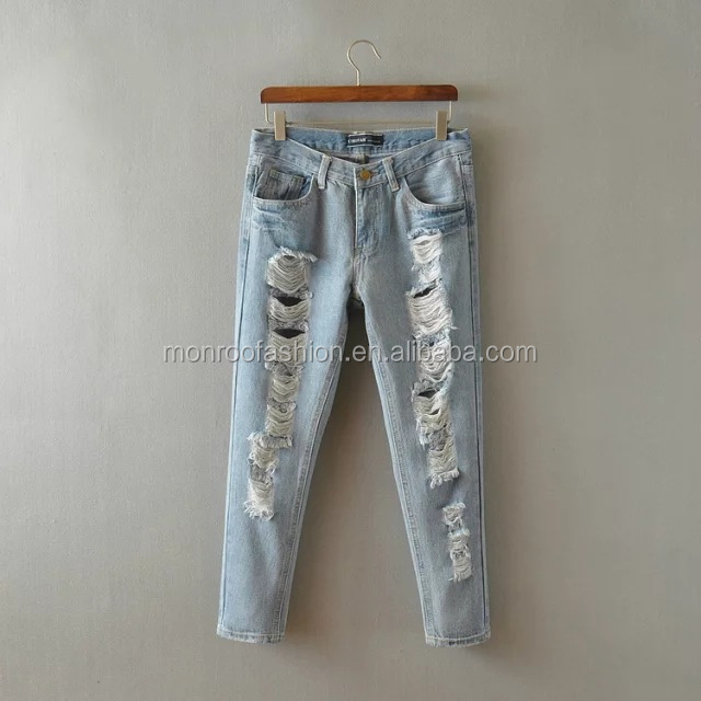Monroo Sexy light blue ripped lady cropped jeans