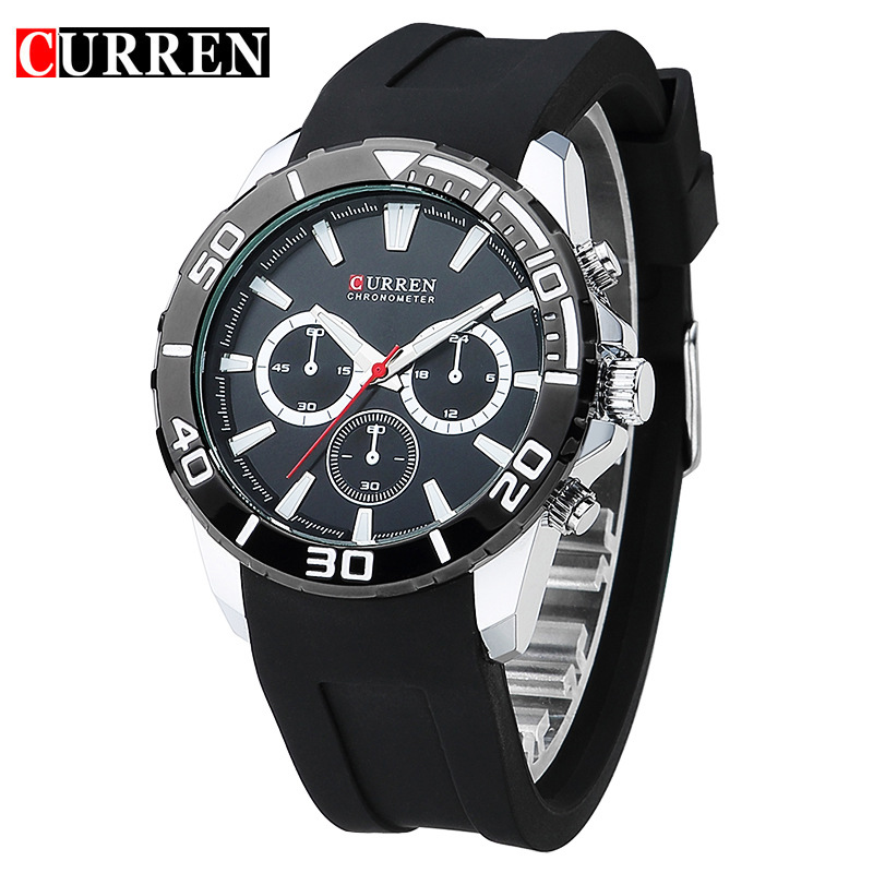 CURREN Fashion Watches Men Analog Military Silicone Watch band Quartz mens Wristwatches water resistant Relogio Masculino 8185