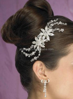 High End White Gold Crystal Hair Jewelry Wedding Women