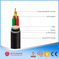 Low smoke 0 halogen 0.6/1kV xlpe insulated power cable (Cu/XLPE/AWA/LSOH) XLPE