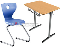 School Furniture Bahrain Tender School Single Wood Desk with PE Chair