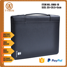 BWA-18 Customized ring binder cardboard A4 Portable file folder with corporate identify Logo/card holder/zipper closure