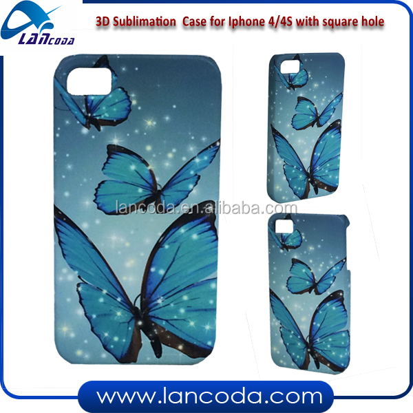film transfer 3D sublimation cover case for iphone4 square hole,3d vacuum transfer machine 3d sublimation mobile phone cover