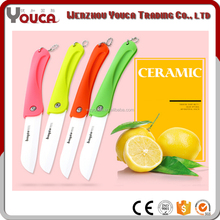 Hot sell metallic ceramic color handle kitchen knife with plastic knife