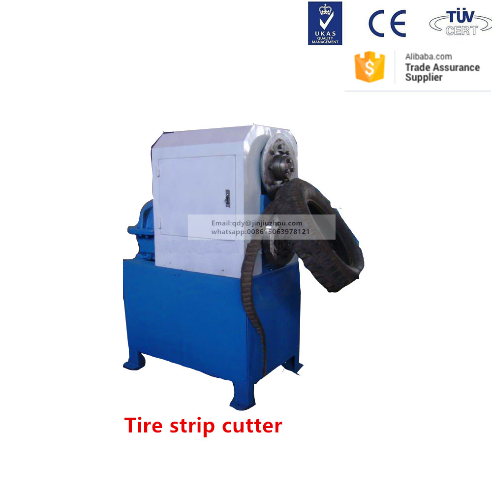 Used tire cutting machine to cut the tire sidewall into strips