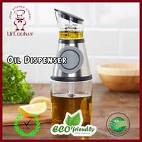 Kitchen Press and Measure Glass Dispenser High Precision No Drip Oil Bottle