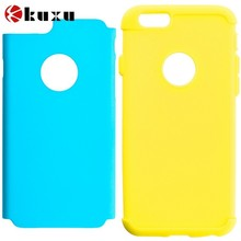Yellow&Baby Blue Hybrid Soft Rubber Impact Protector Case Cover for Apple iPhone 6(4.7 inch)