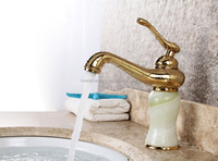 single lever jade stone gold basin mixer tap/gold mixer basin tap/basin tap mixer gold