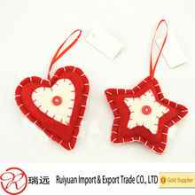 2015 popular products!!! Heart and star shaped felt Xmas ornament