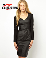2013 Hot Sale Women Black Leather Cheap Dress Wholesale