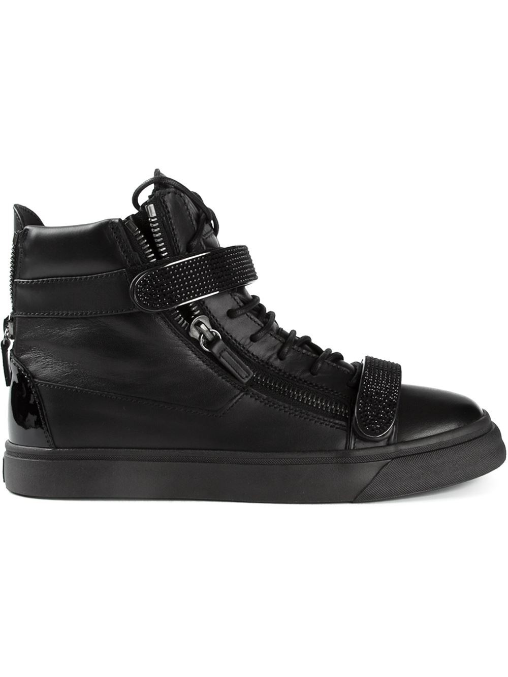 High-top Leather Shoes Zipper Design Lace Up Sneakers Top Quality Fashion Men Shoe