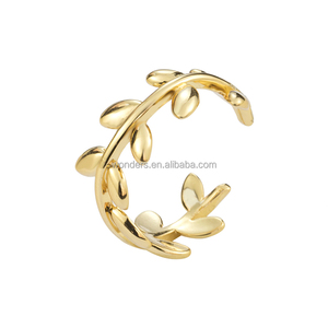 Laurel leaves champion jewelry ring fashion women men adjustable stackable bulk rings gold plated