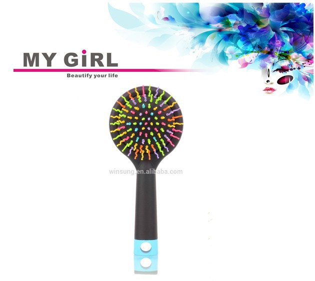 My girl 2016 best gift care massage comb rainbow hand hair brush paddle hair brush honey comb knit fabric