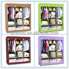 "49.2"" clothes storage organizer foldable wardrobe with cover"