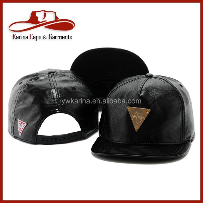 Snake Leather Plain Cheap Snapback Hats Adjustable Baseball Cap Black