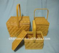 Bamboo basket with handle and lid