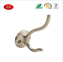Dongguan custom decorative zinc alloy and stainless steel metal double eyes coat hook with cheap price