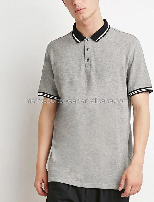 Men's Wholesale Short Sleeves Striped-Trim Polo Shirts