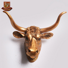 Wholesale handmade wall hanging ornaments decorative resin bull heads