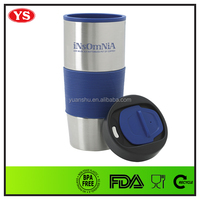 Personalized 16 oz push lid stainless travel mug with rubber sleeve